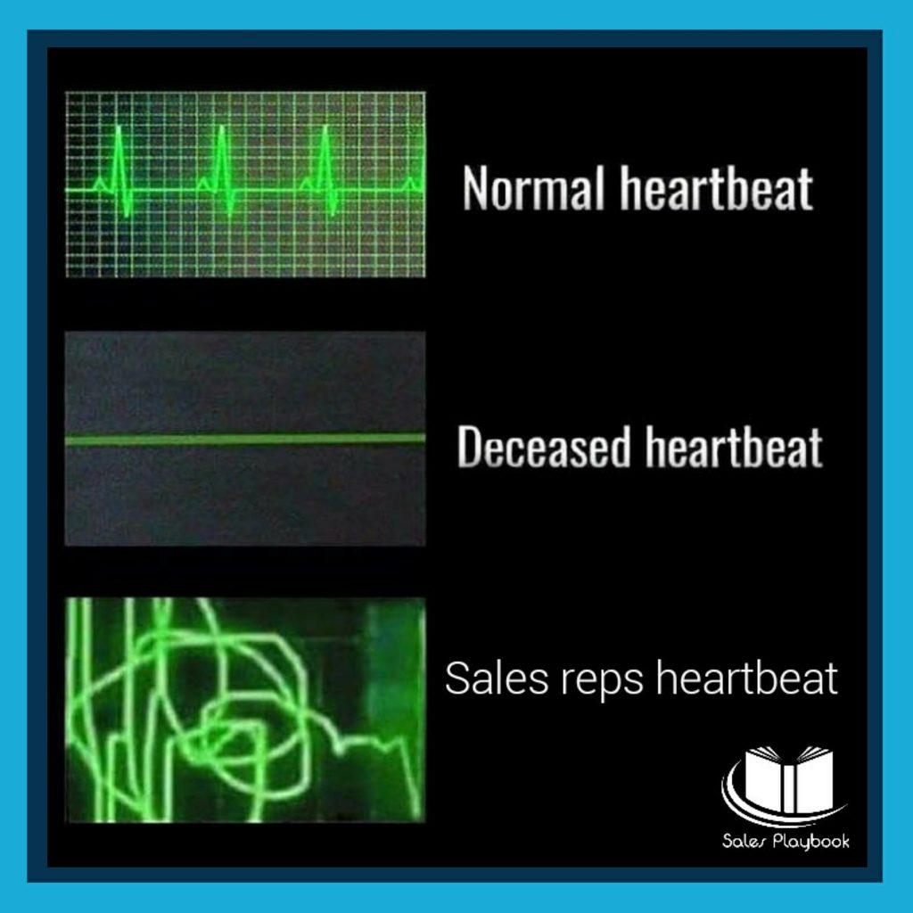 Sales meme normal heartbeat, deceased heartbeat, sales reps heartbeat