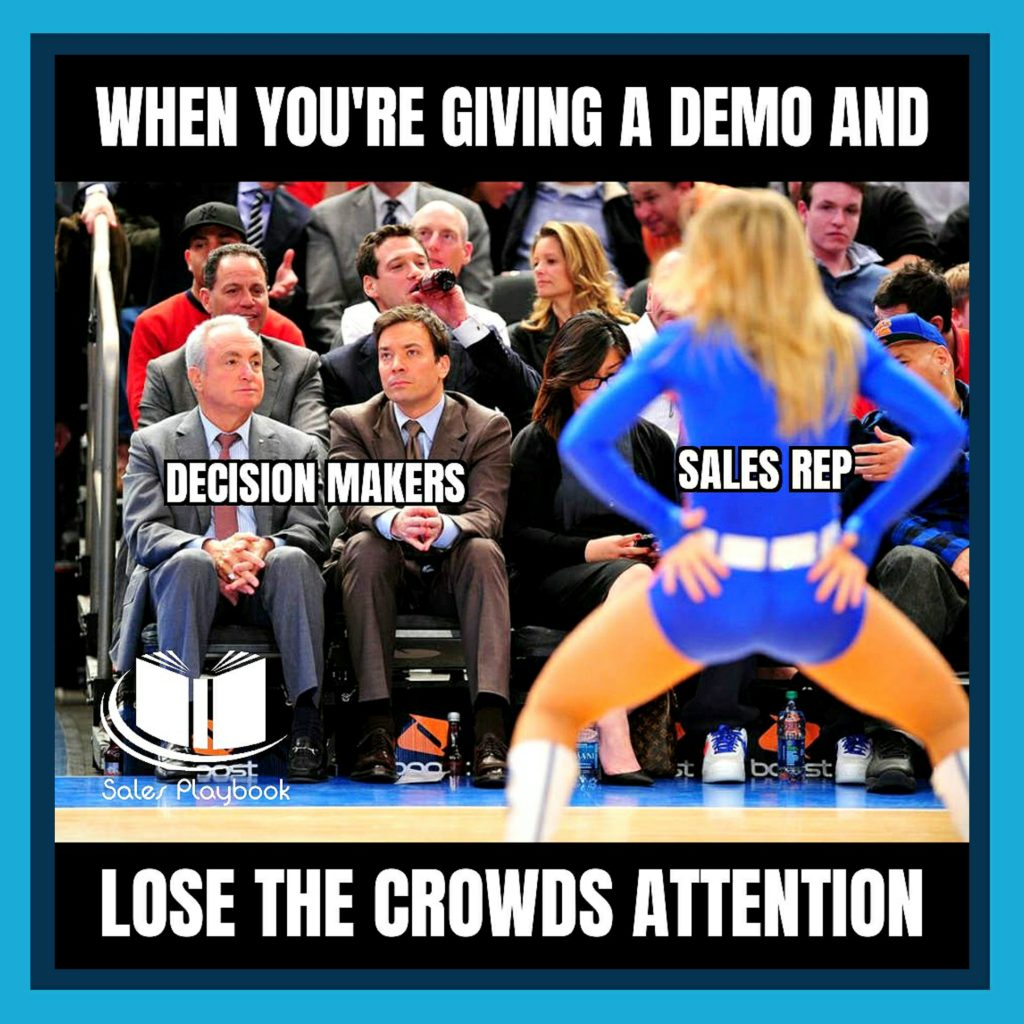 Sales meme when you're giving a demo and lose the crowds attention