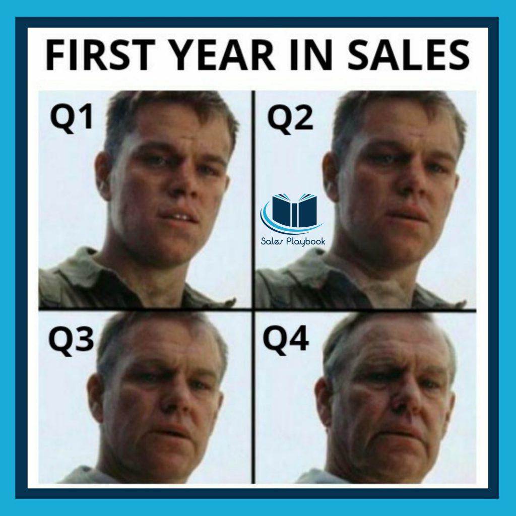 sales meme first year in sales q1 q2 q3 q4