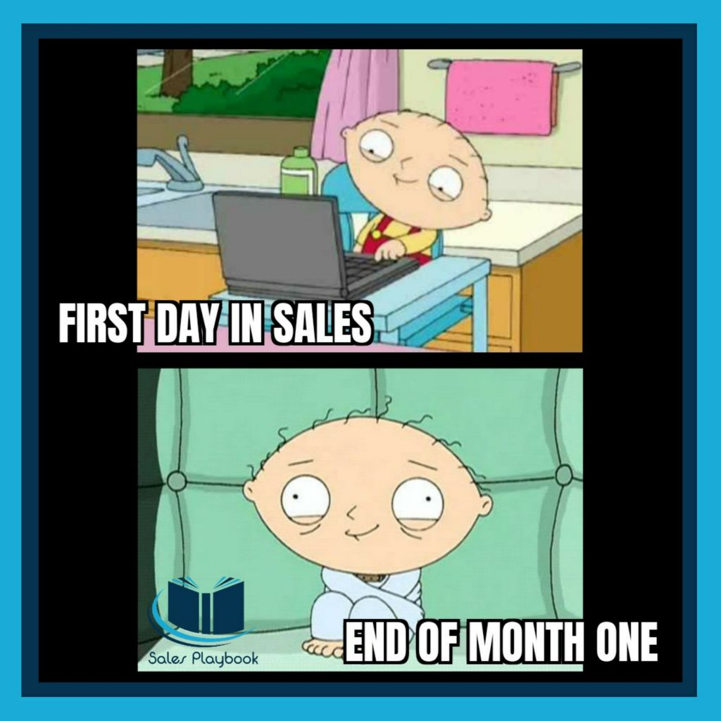 sales meme first day in sales end of month one