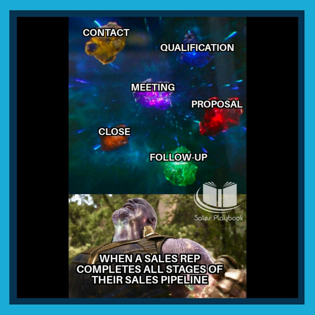 sales meme when the sales rep completes all stages of their sales pipeline contact qualification meeting proposal close follow-up
