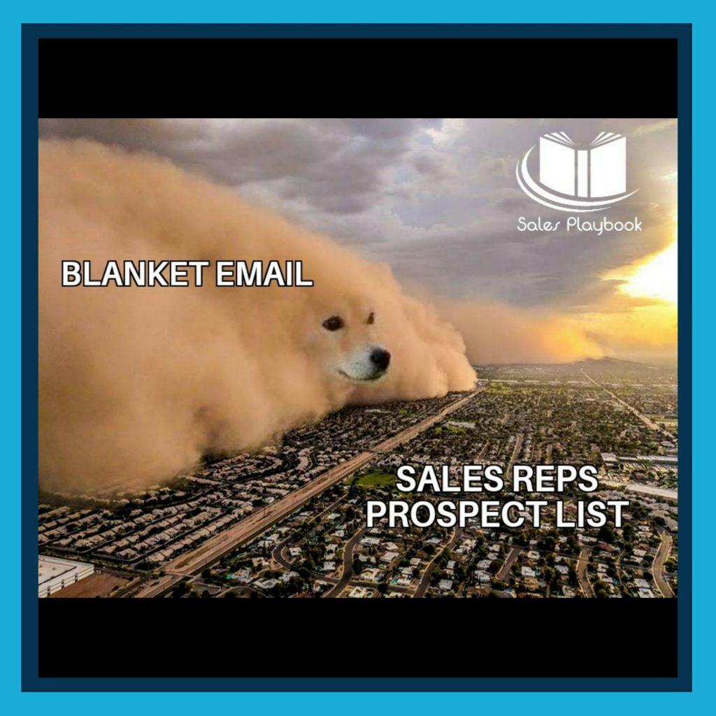 sales meme blanket email sales reps prospect list